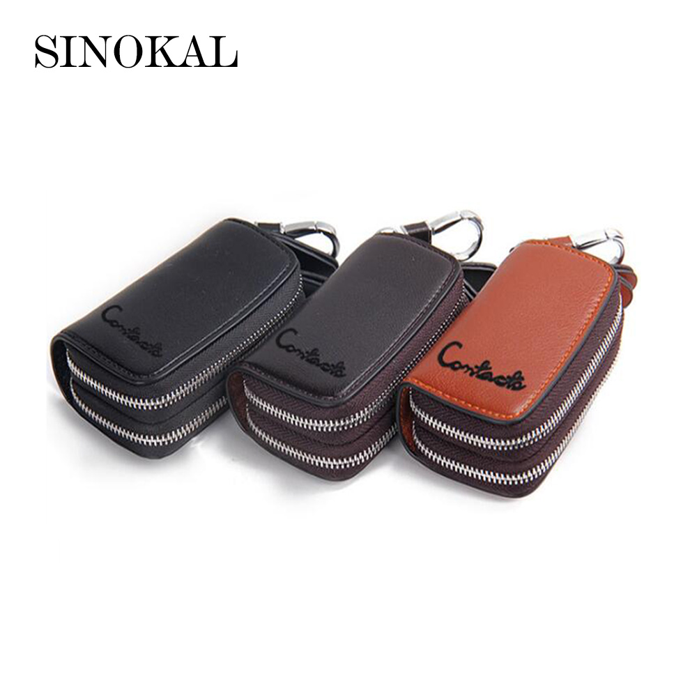 Genuine Leather Men  Key Wallet Key Chain Unisex  Zipper  Car Key Cover Cow Leather Small Wallets Holder Bag Fashion