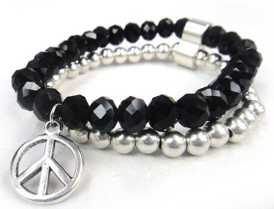 Новое поступление, 8 мм, блестящий серебряный хрустальный стеклянный браслет с подвеской мира, Женский растягивающийся браслет - Окраска металла: black