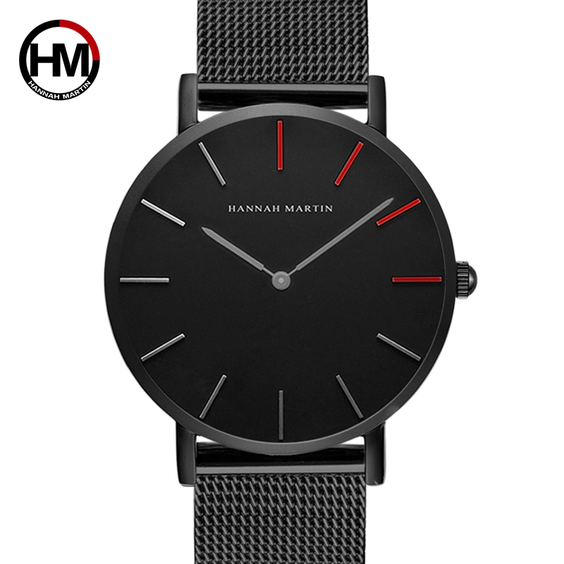 High Quality Japan Quartz Movement Stainless Steel Mesh Band Creative Waterproof Unisex Black Watch For Men Women Drop shipping high quality simple deaign men women quartz watches black white dial mesh stainless steel band modern clock gift reloj masculino