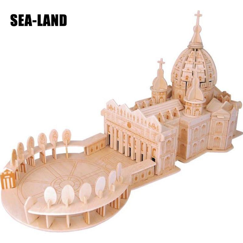 Iq Puzzle Children Adult Toys Basilica Model 3D Wooden Buildings Model Series Assembled 3D Wood Educational Toys 146 Pcs Puzzles st peter s basilica cubicfun 3d educational puzzle paper