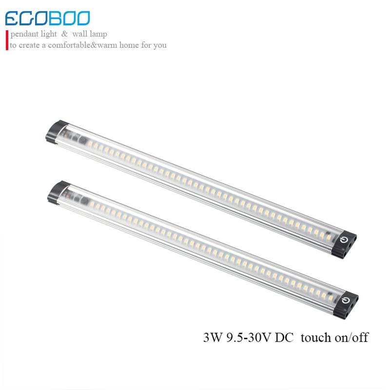 EGOBOO 30cm long 9.5-30v 3w led linear cabinet strip lights touch on / off sensor in cabinet lighting CE RoHS 2pcs/lot