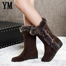 Коричневые новые зимние женские повседневные теплые ботинки до середины икры на меху женские зимние ботинки без шнуровки с круглым носком на плоской подошве Muje, большие размеры 35-42