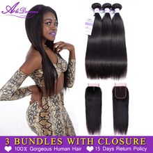 Alidoremi Brazilian Straight Hair 3 Bundles with Closure Middle Three Free part 100% Human Hair Non Remy Free Shipping