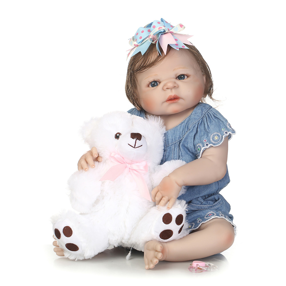 55cm Full Body Silicone Reborn Baby Doll Toys With Bear Newborn Princess Girl Babies Toddler Dolls Birthday Gift bebe toy reborn55cm Full Body Silicone Reborn Baby Doll Toys With Bear Newborn Princess Girl Babies Toddler Dolls Birthday Gift bebe toy reborn