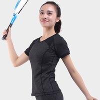 NWT Eshtanga Woman Gym Shirt V Neck Short Sleeve Tshirt Elastic Yoga Sports T Shirt Fitness