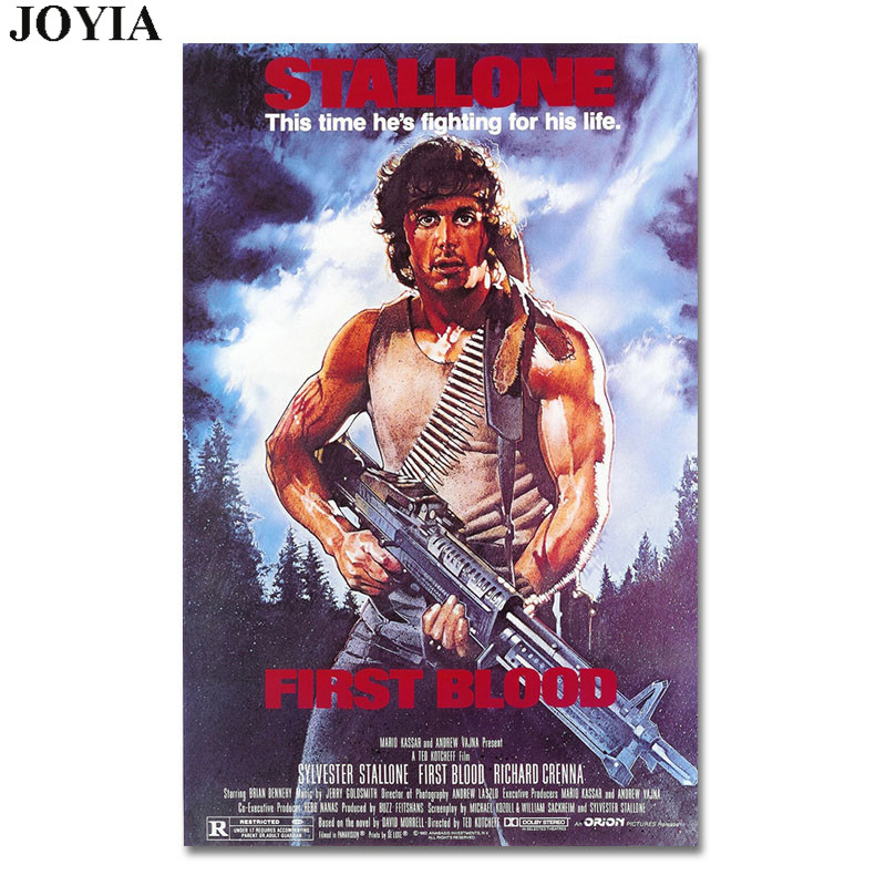 US $4 53 20% OFF|Rambo Movie Poster First Blood Fabric Prints Sylvester  Stallone Silk Poster For Bedroom Wall Decor 12x18 16x24