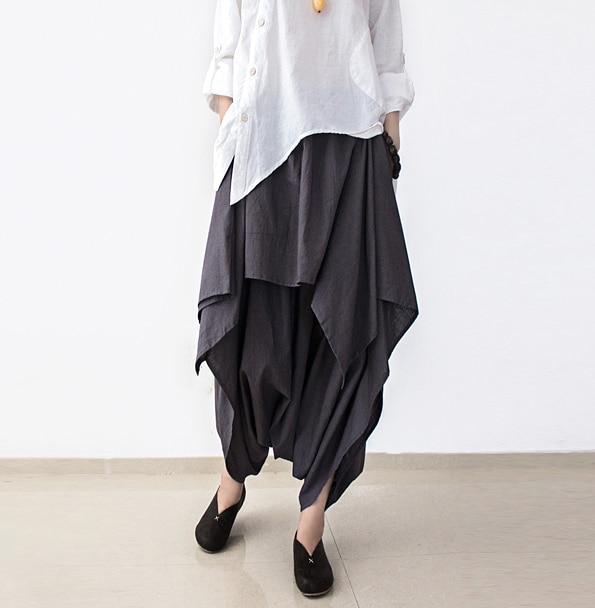 Pantalon femme gros entrejambe pantalon couleur uni grande taille ample jambe large coton pantalon en lin femme pantalon large