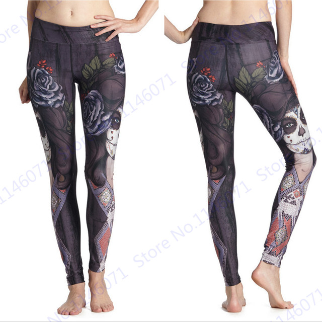 c952cd5d001aea Printed Witch Yoga Pants Vintage Black Rose Running Sports Tights Flower  Sorceress Women Fitness Gym Leggings High Elasticity