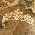Coroas E Tiaras de casamento acessórios para o cabelo Flores Barrocos do vintage Véu de noiva tiara tiara jóias Da Coroa Da Noiva Cabelo folha de ouro