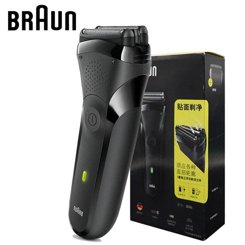 Электробритва Braun с 3 плавающими фрезами, электрическая бритва IPX7, водонепроницаемая, для мужчин, безопасная, перезаряжаемая, возвратно поступательная бритва, 301S