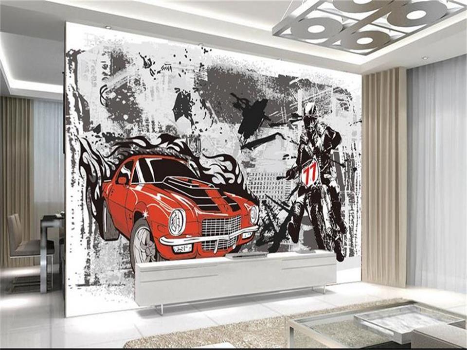 3D photo wallpaper 3D personality graffiti wallpaper car breaking ...