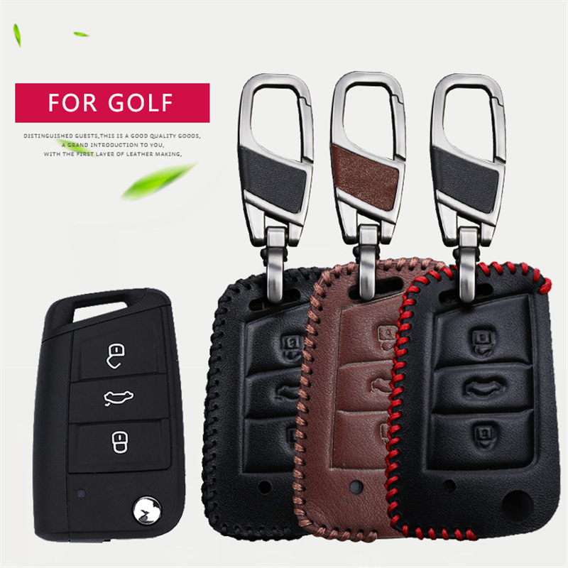 Genuine Leather Car Key Cover Case For Volkswagen <font><b>VW</b></font> <font><b>Golf</b></font> 3 5 7 <font><b>GTD</b></font> R 4 <font><b>6</b></font> MK2 Gti Mk7 MK5 MK6 VII Plus Key Ring Case Accessories image