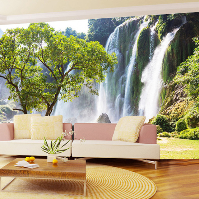 Custom Mural Wallpaper 3D Wall Mural Natural Landscape Waterfalls And Green  Tree Photo Wallpaper Non-