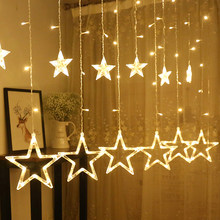 2.5M Christmas Light Star LED Curtain String Light 220V Romantic Fairy Light Holiday Wedding Garland Party Decoration Lighting(China)