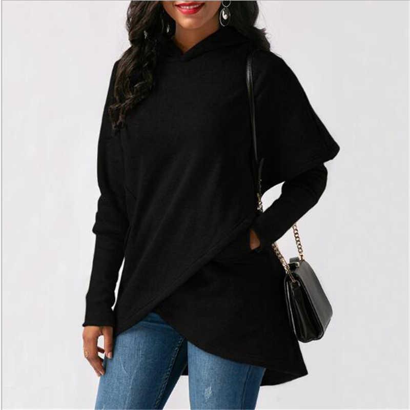 Primavera e no outono moda hoodies mulheres 2019 novos Europeus e Americanos verde cinza preto longo-luva temperamento camisola JD385