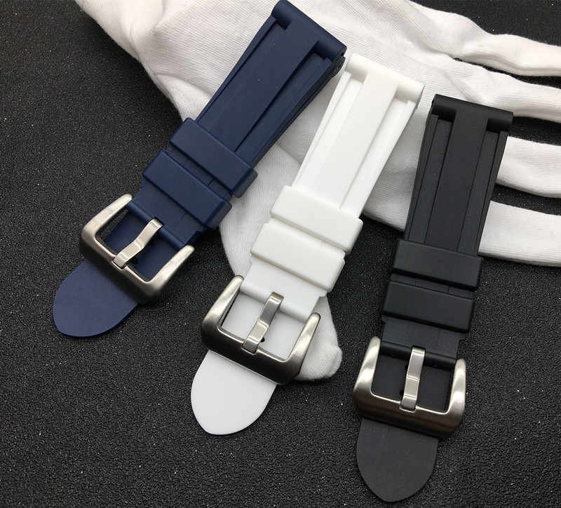 Top Quality watchband Black Blue White Rubber Watch Band 24mm Men Sport Strap Watch Accessories  For PANERAI belt for all brand