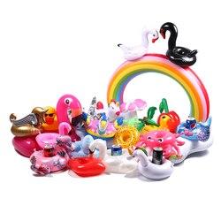 Été 2018 Mini boisson flottant anneau de bain plage eau piscine fête jouets boisson tasse détenteurs gonflable piscine sous-verres Swan Flamingo