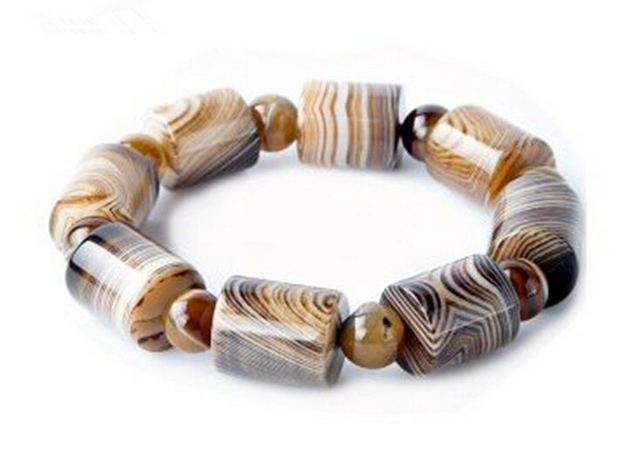 Natural Agate Sardonyx stripe Tibetan Buddha Chain Bead Men And Women cylindrical loose Bracelet Fine Jewelry Gift Decoration