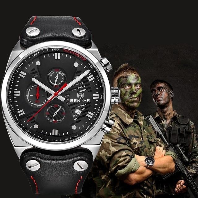 BENYAR ספורט גברים שעונים למעלה מותג יוקרה עמיד למים צבאי הכרונוגרף קוורץ גבר שעון צבא זכר שעון Relogio Masculino SAAT