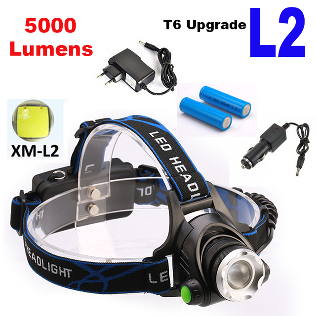 Rechargeable 5000LM XM-L T6 L2 CREE LED Headlamp Zoomable Headlight LED 18650 Bicycle Flashlight Head Light Camping Headlamp LED