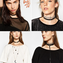 2017 nuevo collar de la vendimia doble capa choker declaración boho maxi cuero gótico negro lace choker chunky cadena collares mujeres