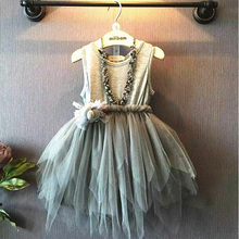 The new summer dress / 2017 / girl / girl summer clothes girls 4-11 years old fashion dress / Skirt / dress irregular hot sale hot sale 2017 summer girls wedding
