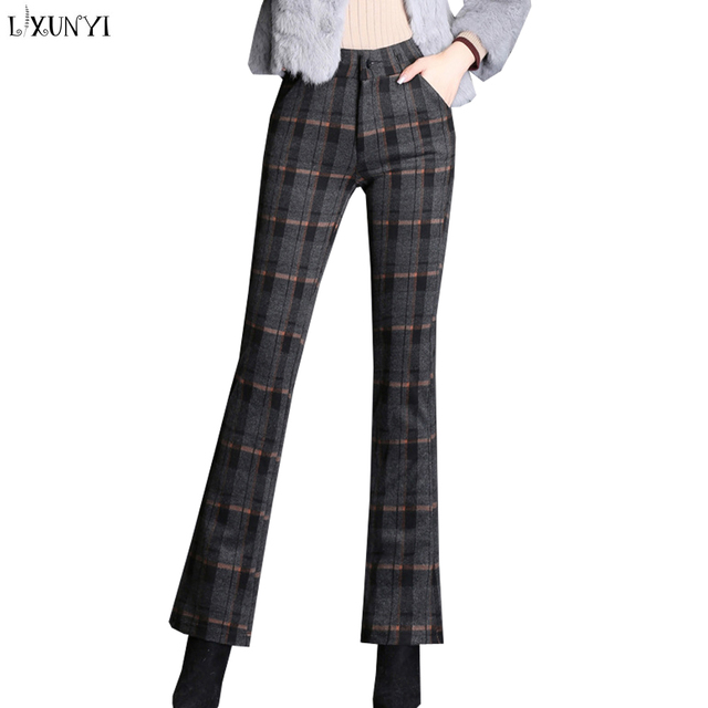be035e80c43 LXUNYI 8XL 9XL High Stretch Woolen Plaid Pants Women High Waist Flare Pants  Plus Size Female Work Pants Office Wear Autumn 2018