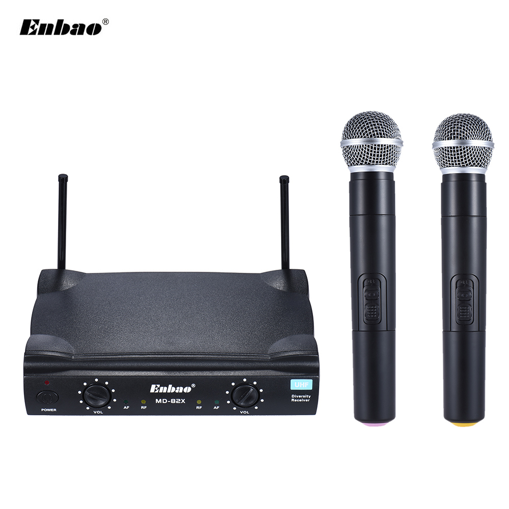 md 82x uhf wireless handheld dual microphone system 2 microphones mic receiver audio. Black Bedroom Furniture Sets. Home Design Ideas