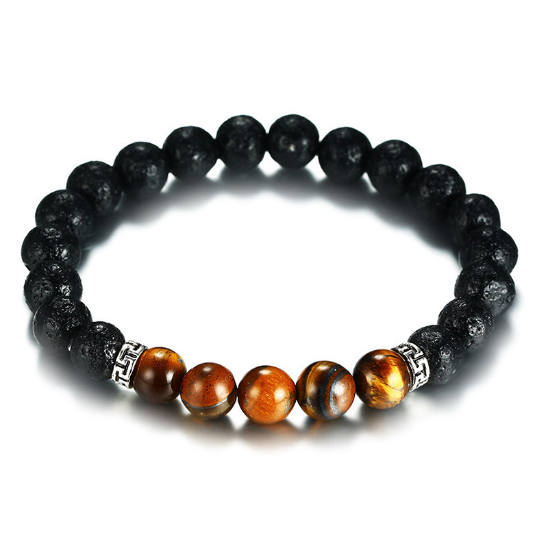 8.5mm Mens Lava Stone and Tiger Eye Beaded Bracelet for Men Energy Vitality Yoga Masculine Healing Braslet Male Jewelry