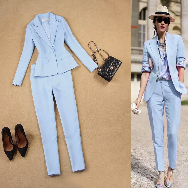 Set Women's Spring And Autumn New Female Professional Blazer Slim Simple Light Blue Suit And  Pants Feet Pants Two Sets