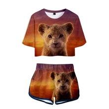 2019 NEW Film glory kingdom King The Lion Simba 3D Two Pieces sets Women Fashion girl Harajuku T-shirts shorts Clothes