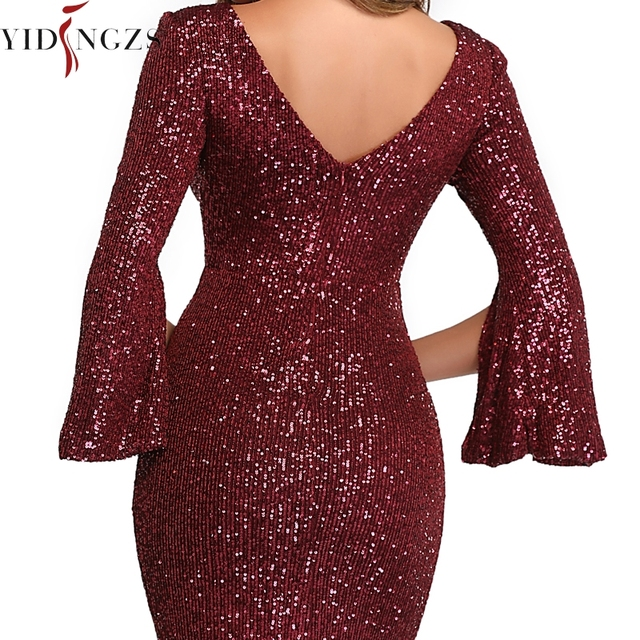 Burgund Evening Dress Long Sleeve YIDINGZS Elegant Mermaid Long Formal Evening Party Dress YD782 4