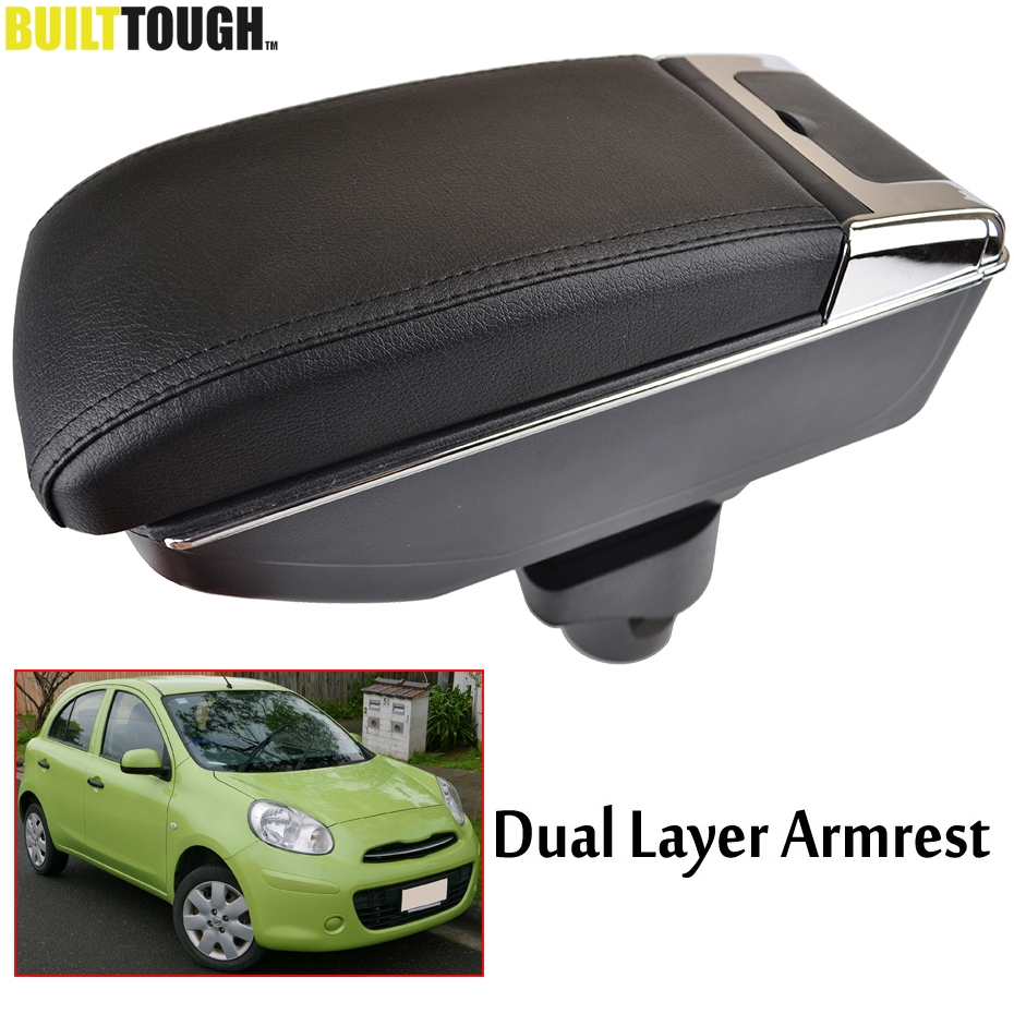 For Nissan March Micra K13 11 16 Renault Pulse Storage Box Center Console Leather Dual Layer