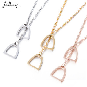 Jisensp Fashion Gold Color Horseshoe Necklaces Pendants for Women Jewelry Birthday Lovely Horse Hoof Necklace Chain Gift(China)