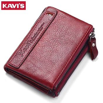 KAVIS 2018 New Vintage Small Women Wallets Female Genuine Leather Womens Wallet Zipper Design With Coin Purse Pockets Mini Walet