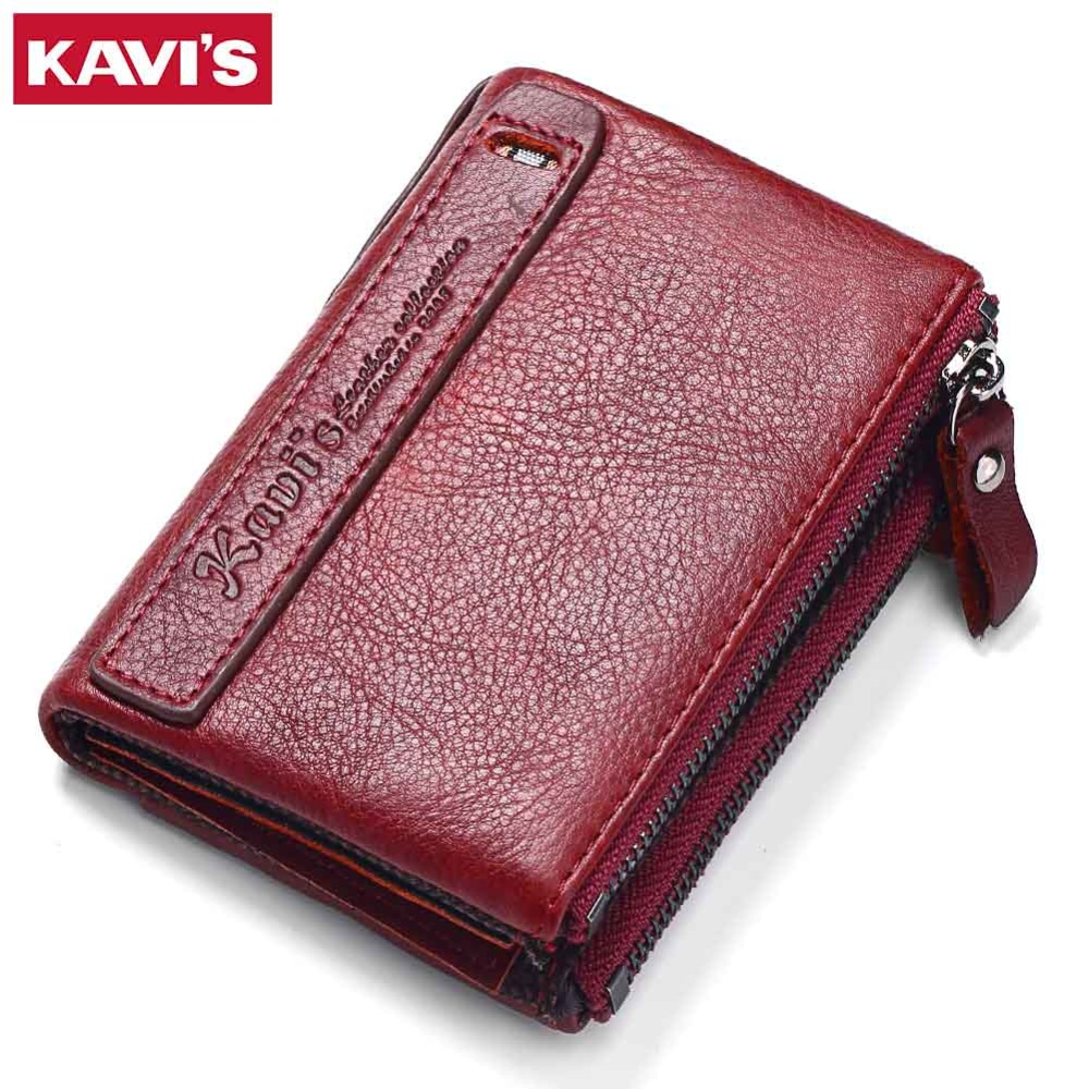KAVIS 2017 New Famous Brand Vintage Women Wallets Genuine Leather Wallet Zipper Design With Coin Purse