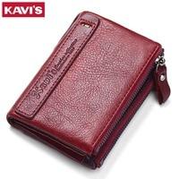 KAVIS 2017 New Famous Brand Vintage Women Wallets Genuine Leather Wallet Zipper Design With Coin Purse