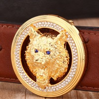 Solid Brass Buckle Belts For Men Gold Wolf Belt High Quality Genuine Leather Strap Ostrich Style