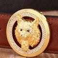 Твердая латунь пряжка ремень из натуральной кожи 2017 новый горячий дизайнер ремни мужчины высокого качества роскошный золотой ягуар известный бренд тигр волк