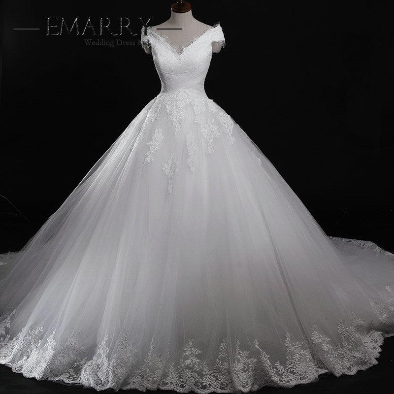 Robe De mariée à lacets romantique robe De bal longue robes De mariée Sexy Cap manches Appliques robes De mariée Train Royal
