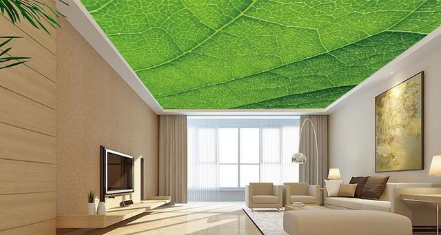 Aanpassen 3d luxe plafond behang Eenvoudige sfeer groene bladeren ...