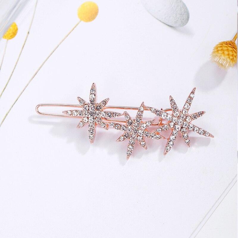 CHIMERA Crystal Star Hair Pins Glitter Rose Gold Metal Hair Side Clips Barrette for Gilrs Women Elegant Rhinestone Hair Jewelry