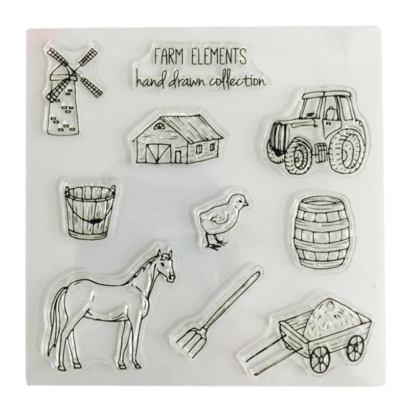 Pasture Silicone Clear Stamps Card Making DIY Craft Stamps Scrapbooking Transparent Stamps Horse Farm Chicken Stamp Home Decor