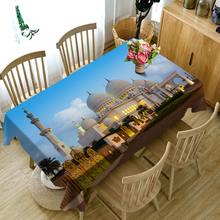 3D Tablecloth European Castle Architectural Pattern Polyester dust Table Cloth Christmas party Decoration Cover