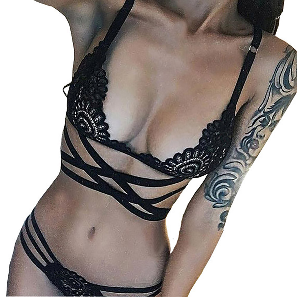 Women Sexy Intersect Strap Lace Briefs Underwear Nightwear Lingerie Wirefree Lace Cross Belt Hollow Bra Intimate Ladies Black