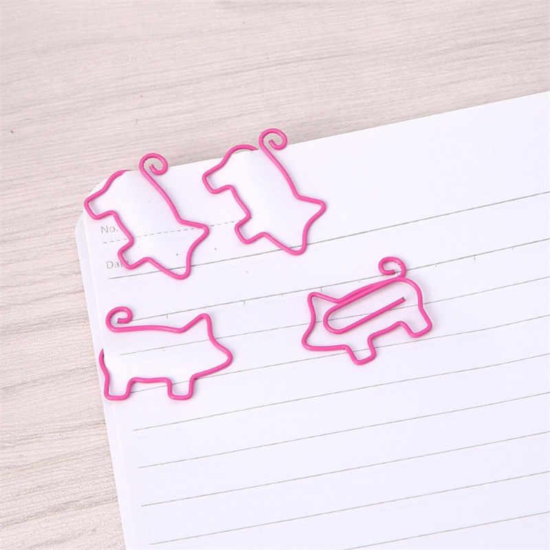 4 piezas lindo cerdo Clips de papel de Metal Pin libro marcapáginas notas Clip Oficina Accesorios papelería escolar
