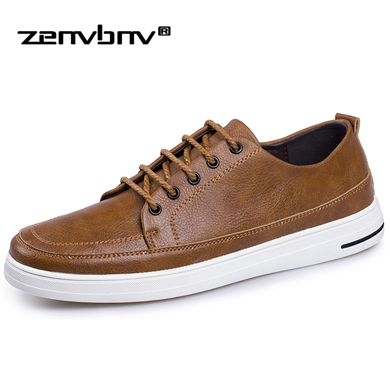 ZENVBNV New Spring Casual Leather Shoes Mens Black Simple style Sneakers Comfortable Classic Krasovki Man Flats Shoes for men glowing sneakers usb charging shoes lights up colorful led kids luminous sneakers glowing sneakers black led shoes for boys