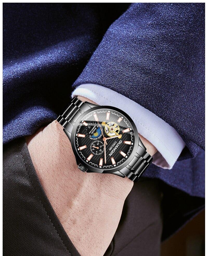 HTB1UYyUa2WG3KVjSZFgq6zTspXaB GUANQIN 2019 new watch men waterproof Automatic Luminous men watches top brand luxury skeleton clock men leather erkek kol saati