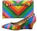 Zapatos Y Bolsos A Juego Para La Boda africana Italiano Zapato de África Y Conjunto de bolsas Para La Fiesta de Mujeres Zapatos Y Bolso A Juego CH01