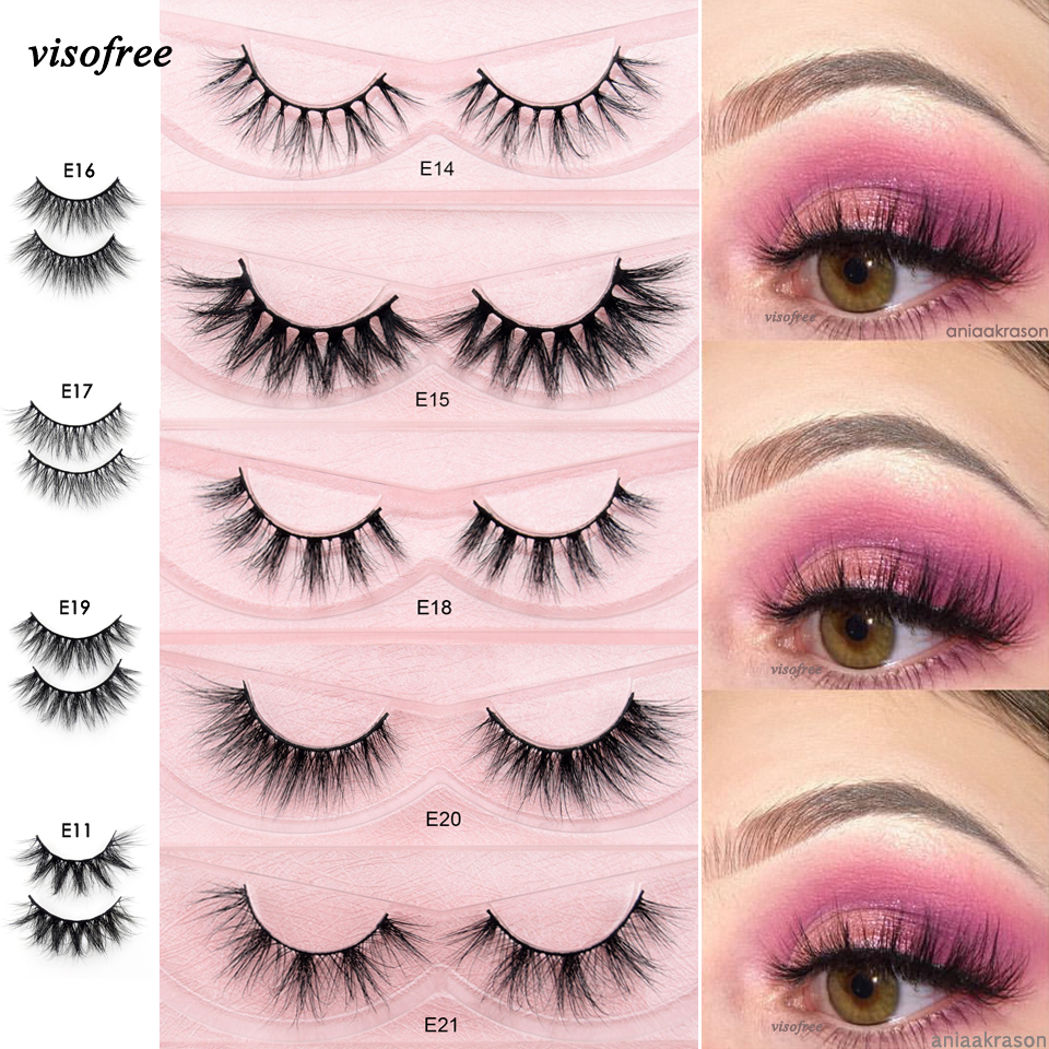 Visofree Eyelashes 3D Mink Lashes Full Volume Soft Lashes Natural Handmade Long Eyelash Extension Real Mink Eyelash For Makeup